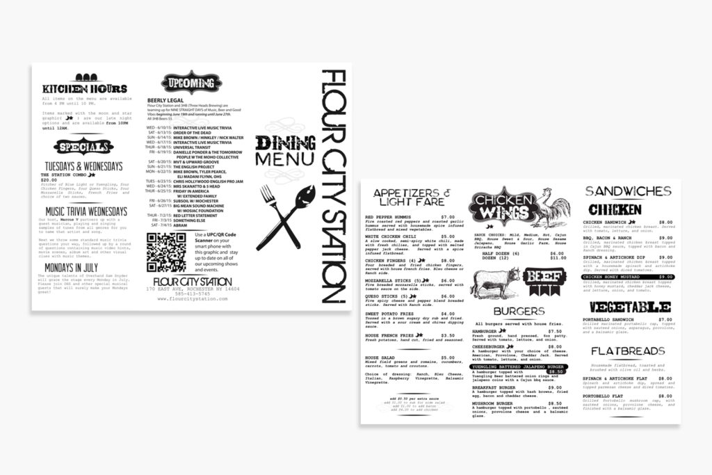 Flour City Station Menu Design