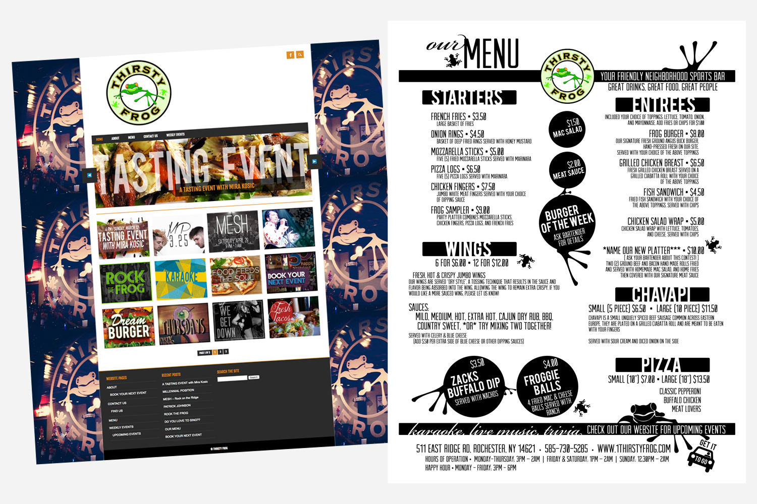 Thirsty Frog Website and Menu Design